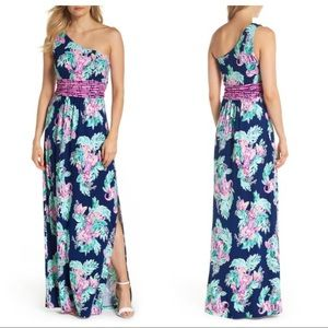 NWT Lilly Pulitzer Malia Maxi Dress Inky Navy L